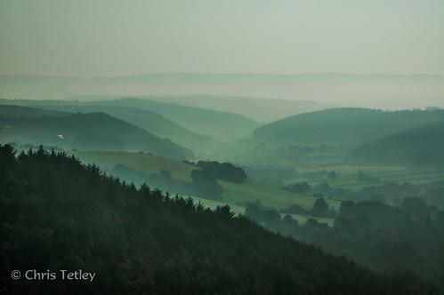 autumn mist wales landscape unitedkingdom powis layers llanidloes llynclywedog