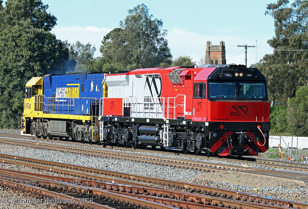 MRL005-NR92 with a down LE test train at Maitland (30/6/2014) by Bradley Matthews