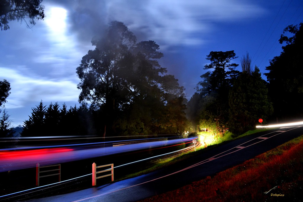 The Puffing Billy 'Night Train' passes Pinnocks Rd, Emerald. 12/7/14 by Dave O'Brien