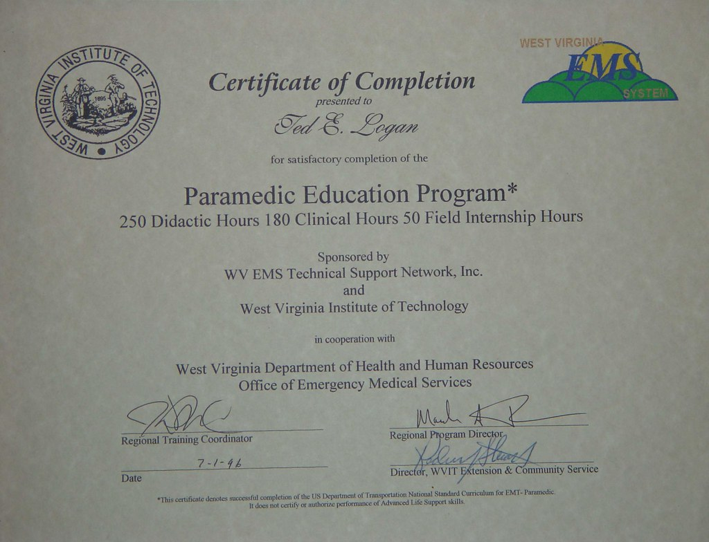certificate paramedic smithers wv