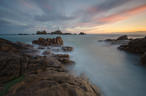 sunset sea lighthouse water clouds nikon rocks long exposure little cloudy sigma le lee nd jersey 1020mm grad stopper corbiere worldphotoday fitlers d7000 printed6x4