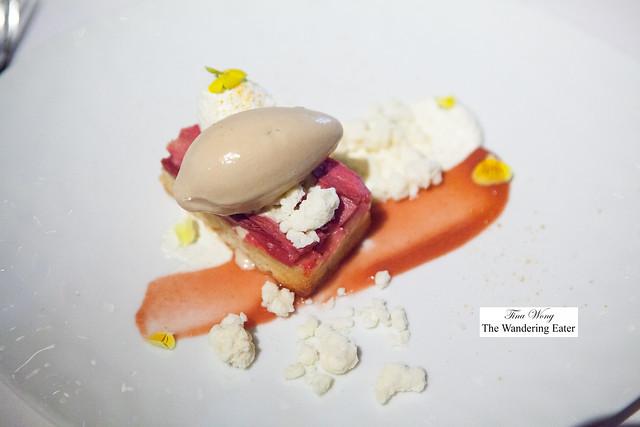 Rhubarb, Almond Cake, Mascarpone Cream and Brown Sugar Ice Cream