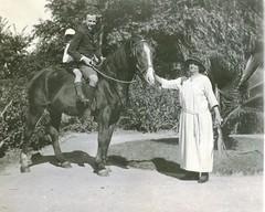 M. Llewelyn W. Bevan with Mrs Bevan holding horse Gawler 1924