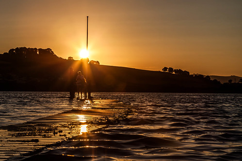 sunset water silhouette river golden jetty riverteign coombecellars coombeteignhead