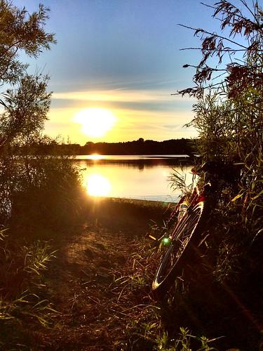 sunset lake water bike ride trail iphoneography