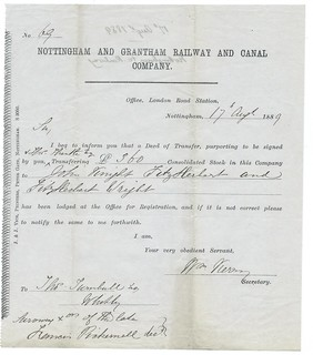 Nottingham and Grantham Railway and Canal Share Transfer certificate 1889 | by ian.dinmore