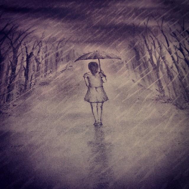 Pencil Sketch Art Drawing Girl Walking Alone Rain