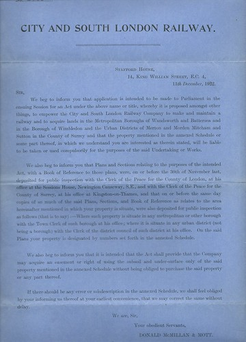 City and South London Railway Notice to Treat 1922   by ian.dinmore