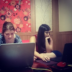 Two of my favourite people taking over my laptops and my house! Friend visiting all the way from Victoria,  Australia!
