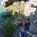 Emily climbing into the Grotto