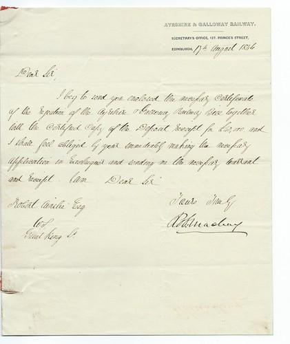 Ayrshire & Galloway Railway letterhead 1846 | by ian.dinmore