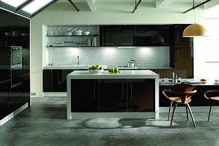 Ultra Gloss Chocolate Kitchen   by larkandlarks