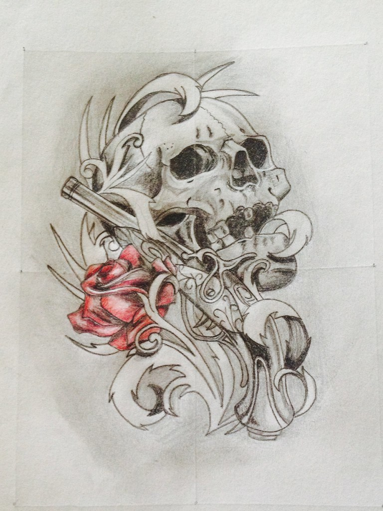 Pencil Drawings Of Roses And Skulls