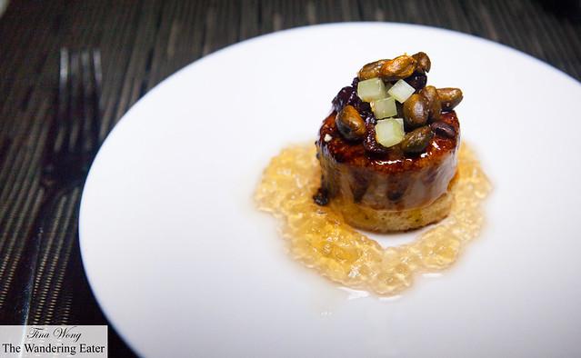 Foie gras brûlée, dried sour cherries and candied pistachio