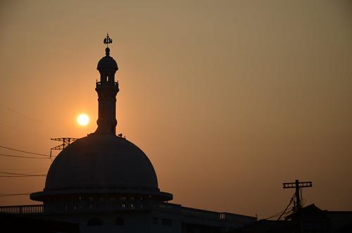 sunrise siluet masjid