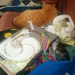 Work on the swirly #quilt continues. Kolohe supervises with his eyes closed.