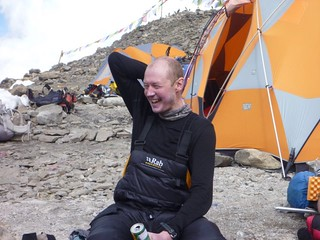 Me cheerful and relieved back at base camp (Photo: José Ferro) | by markhorrell