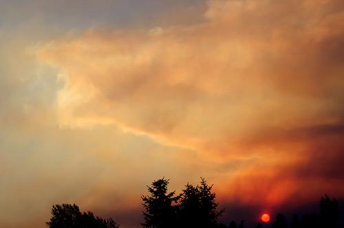 trees sunset sky sun silhouette clouds smoke leavenworthfire washingtonfires centralwashingtonfires chiwaukumcreekfire chiwaukumcreekfirewashington chiwaukumcreekfireleavenworthwa leavenworthwashingtonfire
