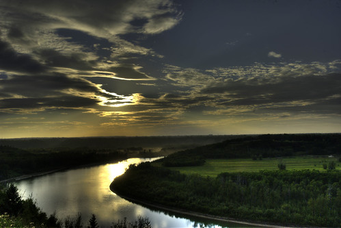 city sunset canada green beauty river landscape edmonton view aerial alberta valley edge viewpoint hdr height northsaskatchewan whitemudroad