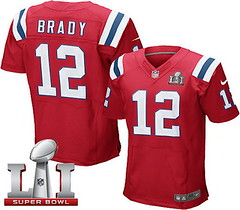 Nike Patriots #12 Tom Brady Red Alternate Super Bowl LI 51 Men's Stitched NFL Elite Jersey