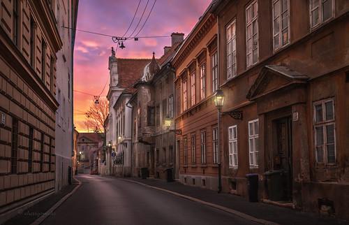 zagreb croatia sunset street light lamp buildings architecture historic matoševa urban city mood atmosphere travel