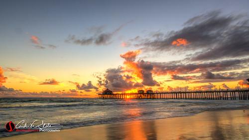 california sunset orange beach water clouds canon landscape pier sand waves unitedstates ies pacificocean orangecounty huntingtonbeach hdr annualconference photomatix huntingtonbeachca 5dmarkiii