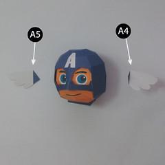 วิธีทำของเล่นโมเดลกระดาษกับตันอเมริกา (Chibi Captain America Papercraft Model) 006