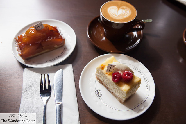 Apple tart and Cheesecake with a latte