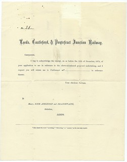 Leeds, Castleford, & Pontefract Junction Railway Notice of support to build the railway 1873 | by ian.dinmore