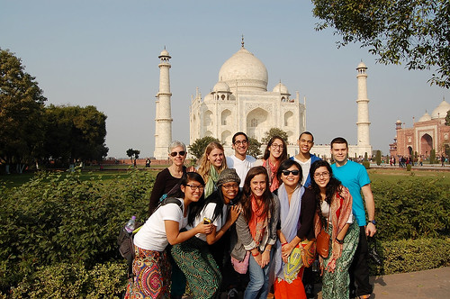 Students pose in front of Taj Mahal