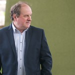 James Naughtie strikes a pose for the press photographers |