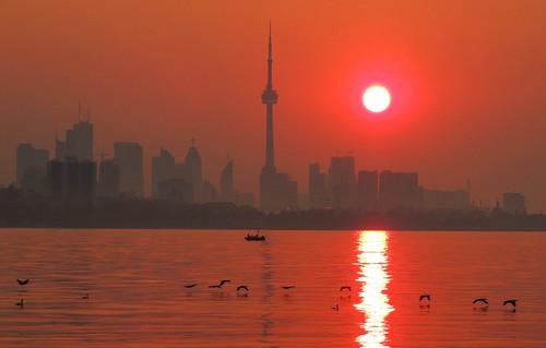 morning red sun toronto canada skyline sunrise reflections nikon colorful colourful glistening reddawn reflectivewater nikoncoolpixp510