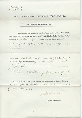 Lancaster and Preston Junction Railway share transfer certificate 1844 | by ian.dinmore