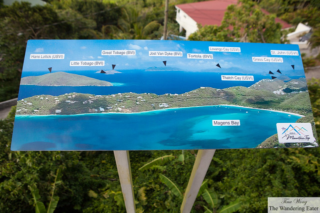A map of the islands you would see at Mountain Top