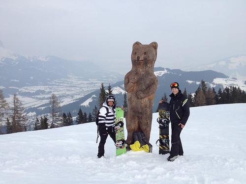 Students pose on a ski run
