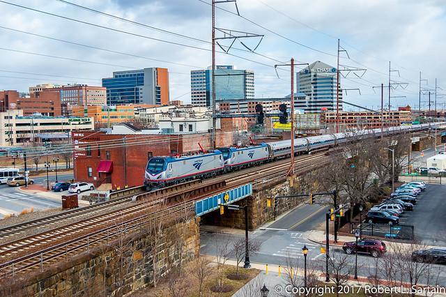 Amtrak 657 and 645 on 855, Brandy, 2017-02-16