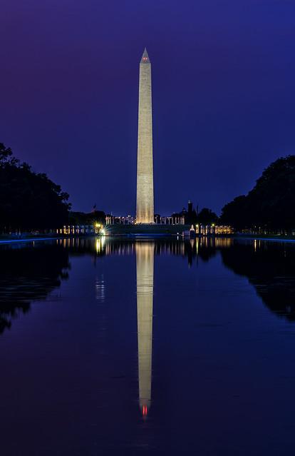 Purple Tinged Twilight With Washington Monument Reflected