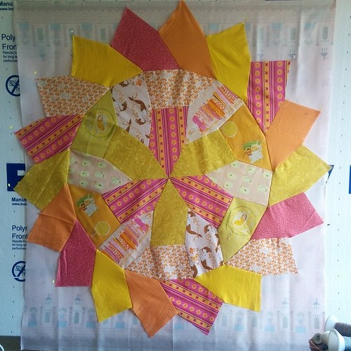 This quilt is based on a Hirschhorn tiling. Details of the quilt, 'Sunshine,' are at domesticat.net/quilts/sunshine