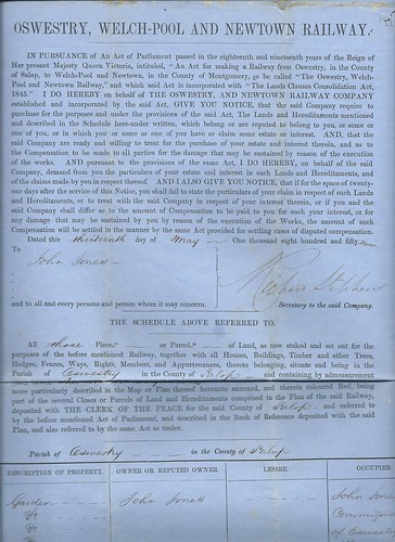 Oswestry, Welch-Pool and Newtown Railway Notice to Treat 1857 | by ian.dinmore