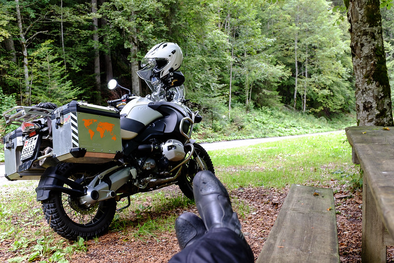 """Little ride in the """"Pré-Alpes"""", a little cold so I stopped to put on RevIt trousers."""
