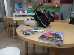 having a rest at Baltic library, Newcastle
