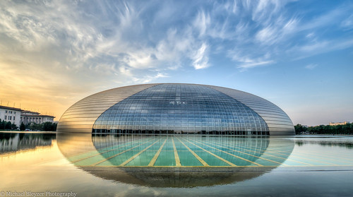 china urban reflection water sunrise beijing hdr ncpa nationalcenterfortheperformingarts 3fhdr