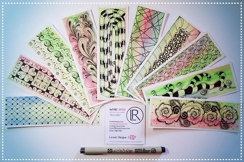 2. happened this weekend - tangled one of a kind watercolour bookmarks to sell in my corner of the @walkervilleartistscoop. #fmspad #littlemomentsapp 24 #zentangle #tangle #tangling #ZIA #ZIABookmark #alphabetsalad #tenthousandtangles #laurelreganczt #czt | by Laurel Storey, CZT