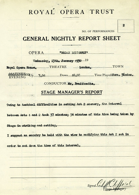 Stage managers' report for the Covent Garden Opera Company's performance of Madama Butterfly (1950), 25 January 1950 © ROH Collections