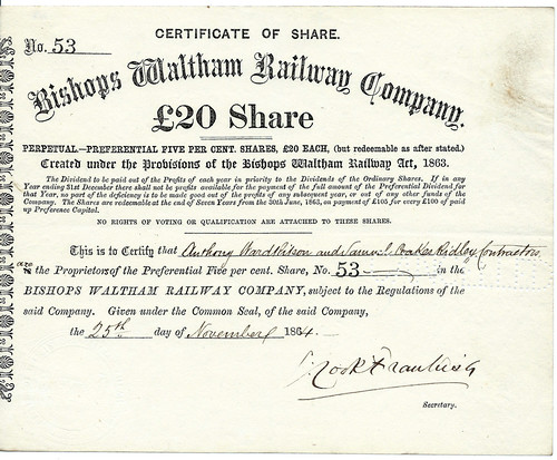 Bishops Waltham Railway Share certificate 1863 | by ian.dinmore