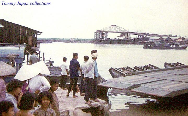Damaged bridge (background) at Go Dau Ha 1969-70