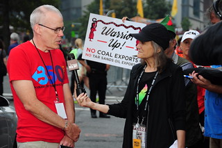 Democracy Now! at the People's Climate March: Amy Goodman and her interview of Bill McKibben on the streets of New York City: The People's Climate March: New York City, September 21, 2014. | by The Visual Library of Social Justice = La Bibliote