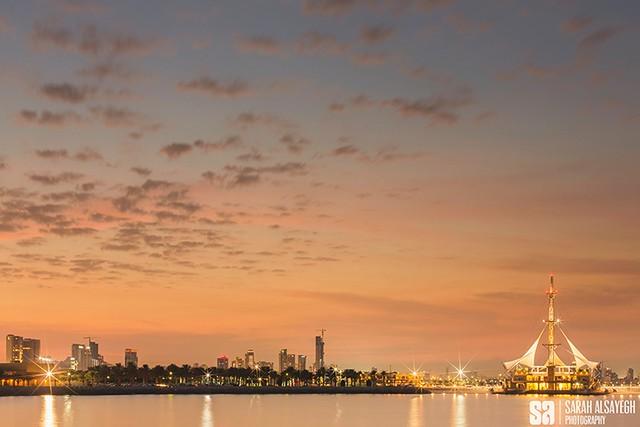 Kuwait - Salmiya - The Romantic Sunset Over Marina Crescent