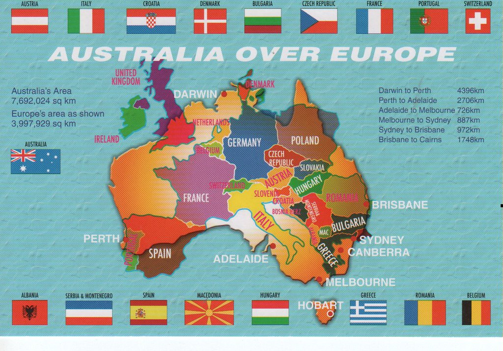 Australia Map In Europe.Map Australia Over Europe Larger Than Standard Card Flickr