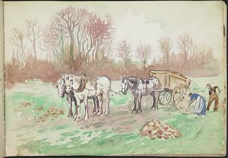 Two farmers in a field with two horses, and a horse and cart, France [Sketchbook 4, folio 15] / Deux fermiers dans un champ avec deux chevaux, et un cheval et une charette, France [Carnet de croquis 4, folio 15]
